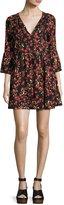 Ella Moss Alita Floral Bell-Sleeve Mini Dress, Black