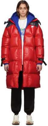Ader Error ADER error Red Down AE Logo Puffer Coat