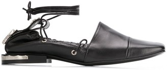 Toga Pulla Ankle Tie Hardware Detail Ballerinas