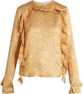 Rochas Ruffled floral-brocade silk-blend blouse