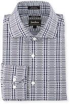 Neiman Marcus Trim-Fit Plaid Dress Shirt, Navy