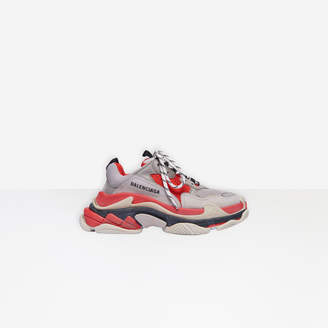Balenciaga Triple S in red, grey and white leather and double foam and mesh