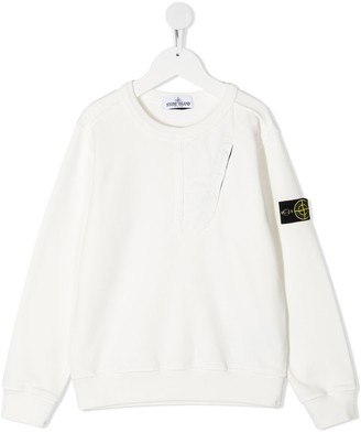 Stone Island Junior Logo Patch Cotton Sweatshirt