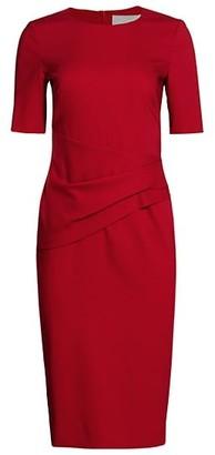 HUGO BOSS Deniba Drapy Stretch Virgin Wool-Blend Dress
