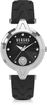 Versace Versus V Versus Silver Stainless Steel Women's Watch w/Black Leather Strap