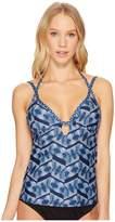 Lucky Brand Nomad Ikat Halter Takini Top Women's Swimwear