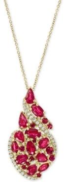 """Effy Certified Ruby (3-1/4 ct. t.w.) & Diamond (1/6 ct. t.w.) Swirl 18"""" Pendant Necklace in 14k Gold"""