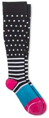 Dr. Motion Women's Mild Compression Dots Over Stripes Knee High Socks 4-10