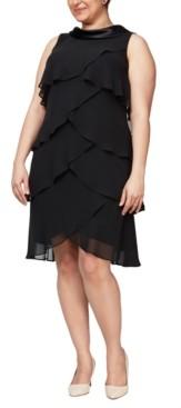 SL Fashions Plus Size Satin Tiered Dress