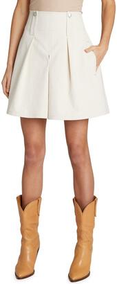 Button-Tab Detail Wide-Leg Skirt Shorts
