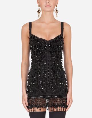 Dolce & Gabbana Mini Dress With Bead Appliques