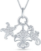 FINE JEWELRY Enchanted by Disney 1/10 C.T. T.W. Diamond Ariel Sea Life Charm Pendant Necklace In Sterling Silver