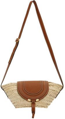 Chloé Beige Raffia Small Marcie Basket Bag