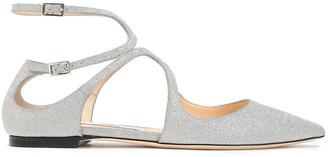 Jimmy Choo Lancer Cutout Glittered Leather Point-toe Flats