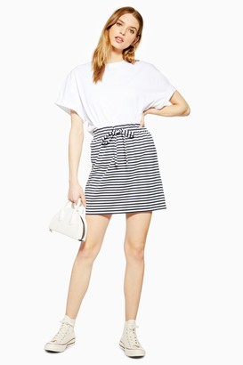 Topshop Womens Stripe Paperbag Mini Skirt - Blue