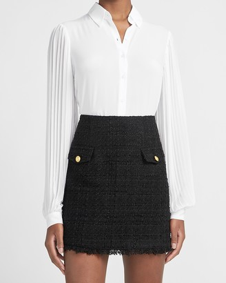 Express High Waisted A-Line Tweed Mini Skirt