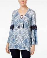 Style&Co. Style & Co. Crochet-Trim Printed Top, Only at Macy's