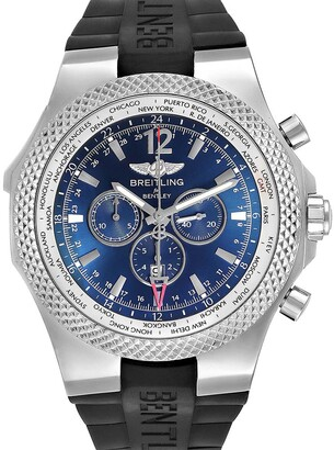 Breitling Blue Stainless Steel Bentley GMT Chronograph A47362 Men's Wristwatch 49 MM