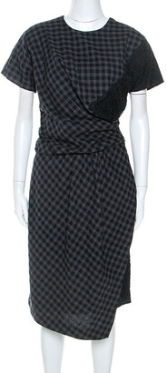 Carven Bicolor Checked Cotton Lace Trim Detail Dress M