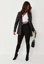 Missguided Tall Black High Waisted Slash Knee Skinny Jeans
