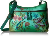 Thumbnail for your product : Anna by Anuschka Women's Genuine Leather Medium Shoulder Hobo   Zip-Top Organizer with Side-Zip Pockets   Birds in Paradise Green