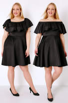 Yours Clothing PRASLIN Black Frill Bardot Skater Dress