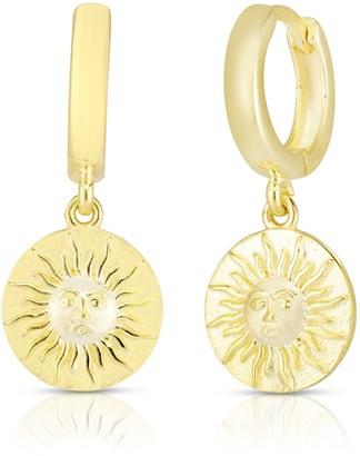 Sphera Milano 14K Gold Vermeil Sun Coin Huggie Hoop Earrings