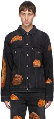 Doublet Black Denim Hand-Painted Boulangerie Jacket