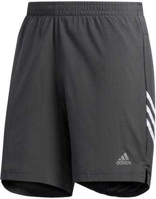 adidas Mens Run It 3 Stripe Shorts Grey / White S