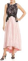 Sangria Lace Bodice Hi-Low Gown