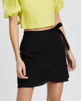 Aere Linen Wrap Skirt