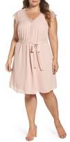 Daniel Rainn Plus Size Women's Lace Trim A-Line Dress