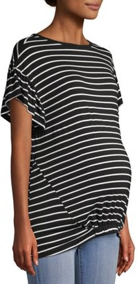 Time and Tru Maternity Short Sleeve Ruffle Stripe Top with Elastic Band