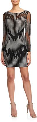Jovani Embellished Bateau-Neck Long-Sleeve Short Dress