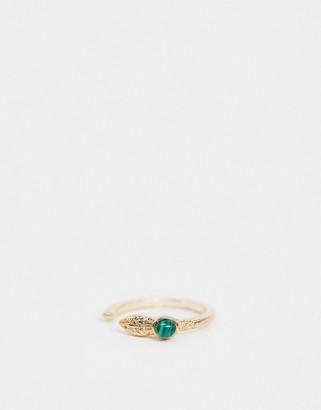 ASOS DESIGN ring with wraparound snake with green malachite stone in gold tone