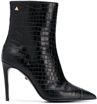 Grey Mer Crocodile-Effect Ankle Boots