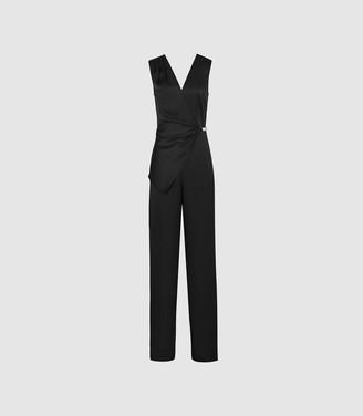 Reiss Vita - Satin Wrap Front Jumpsuit in Black