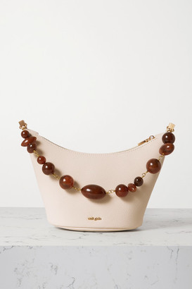 Cult Gaia Gia Bead-embellished Textured-leather Shoulder Bag - Off-white