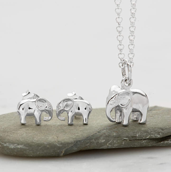 bce0d3f482ecf Lily Charmed Elephant Necklace Jewellery Set With Stud Earrings