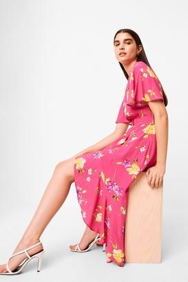 French Connenction Emina Drape Cascade Hem Belted Dress