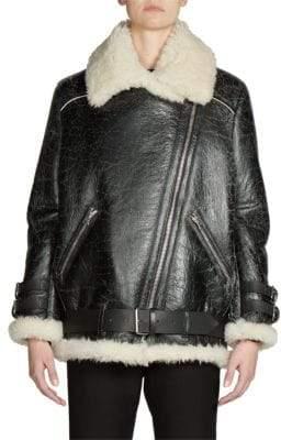 Acne Studios Shearling& Leather Oversized Vintage Moto Jacket