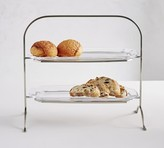 Pottery Barn Grace Pressed Glass Tiered Stand
