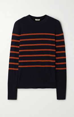 Jason Wu Striped Merino Wool Sweater - Navy