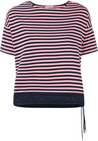 Moncler drawstring hem striped T-shirt