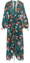 Preen by Thornton Bregazzi Opal Ruched Floral-print Devoré-chiffon Midi Dress - Teal