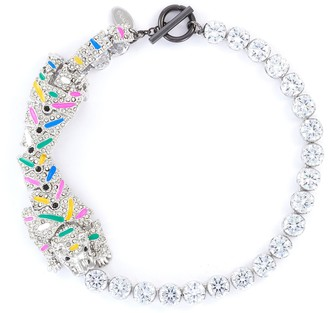 Venna Brush Paint Crystal Embellished Leopard Choker Necklace