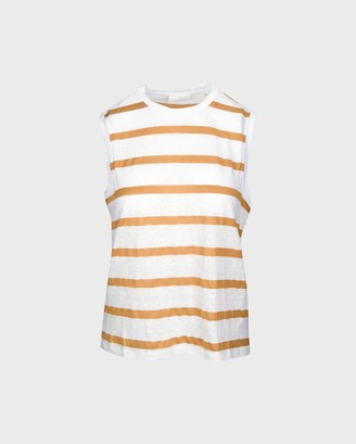 7 For All Mankind Welt Pocket Muscle Tee in White/Amber Stripe