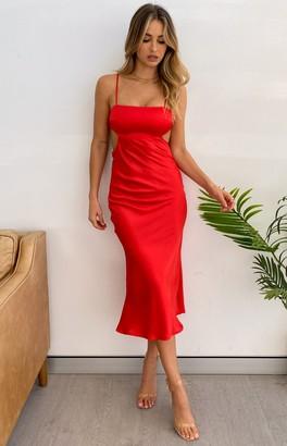 Beginning Boutique Taryn Midi Dress Red