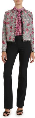 Giambattista Valli Crewneck Tweed Floral Embroidered Jacket