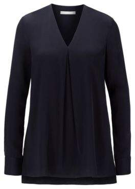 BOSS Long-sleeved V-neck blouse in stretch-silk crepe de chine